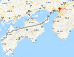 西予市三瓶町から大阪難波神社